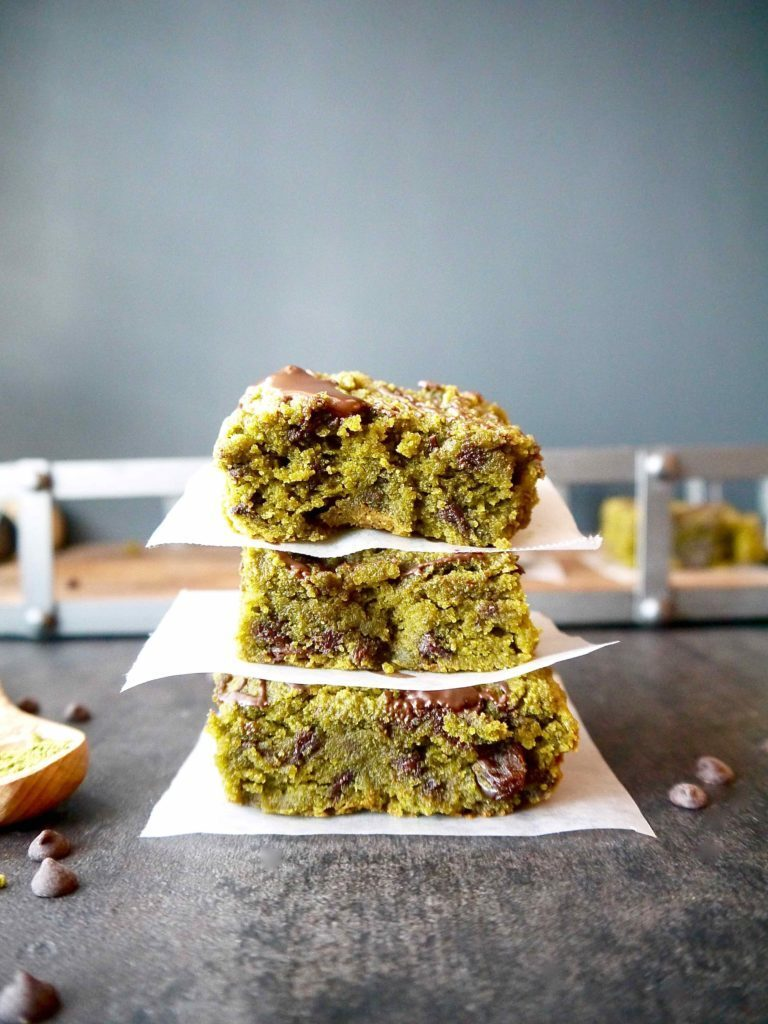 Paleo Matcha Blondies with Chocolate Chips and Raisins