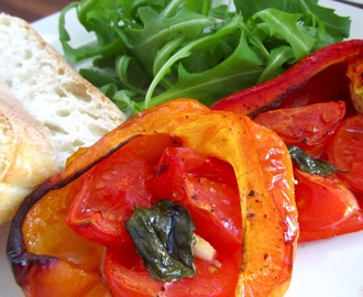 Roast Peppers with tomatoes, garlic and basil
