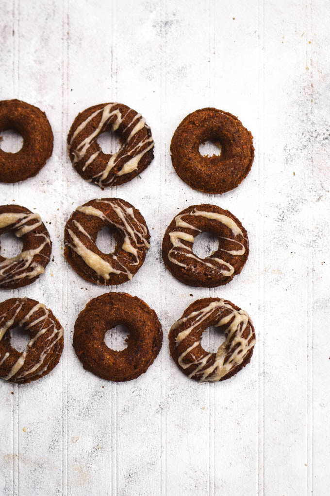 Carrot Cake Baked Doughnuts with Maple Coconut Icing (Vegan)
