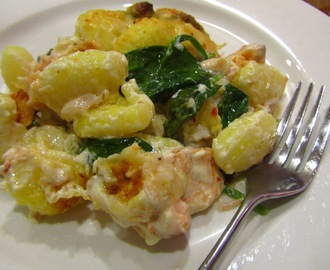 Gnocchi bake with hot smoked salmon and spinach
