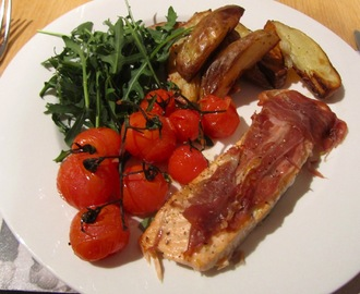Baked Salmon with Parma Ham and Roasted Vine Tomatoes
