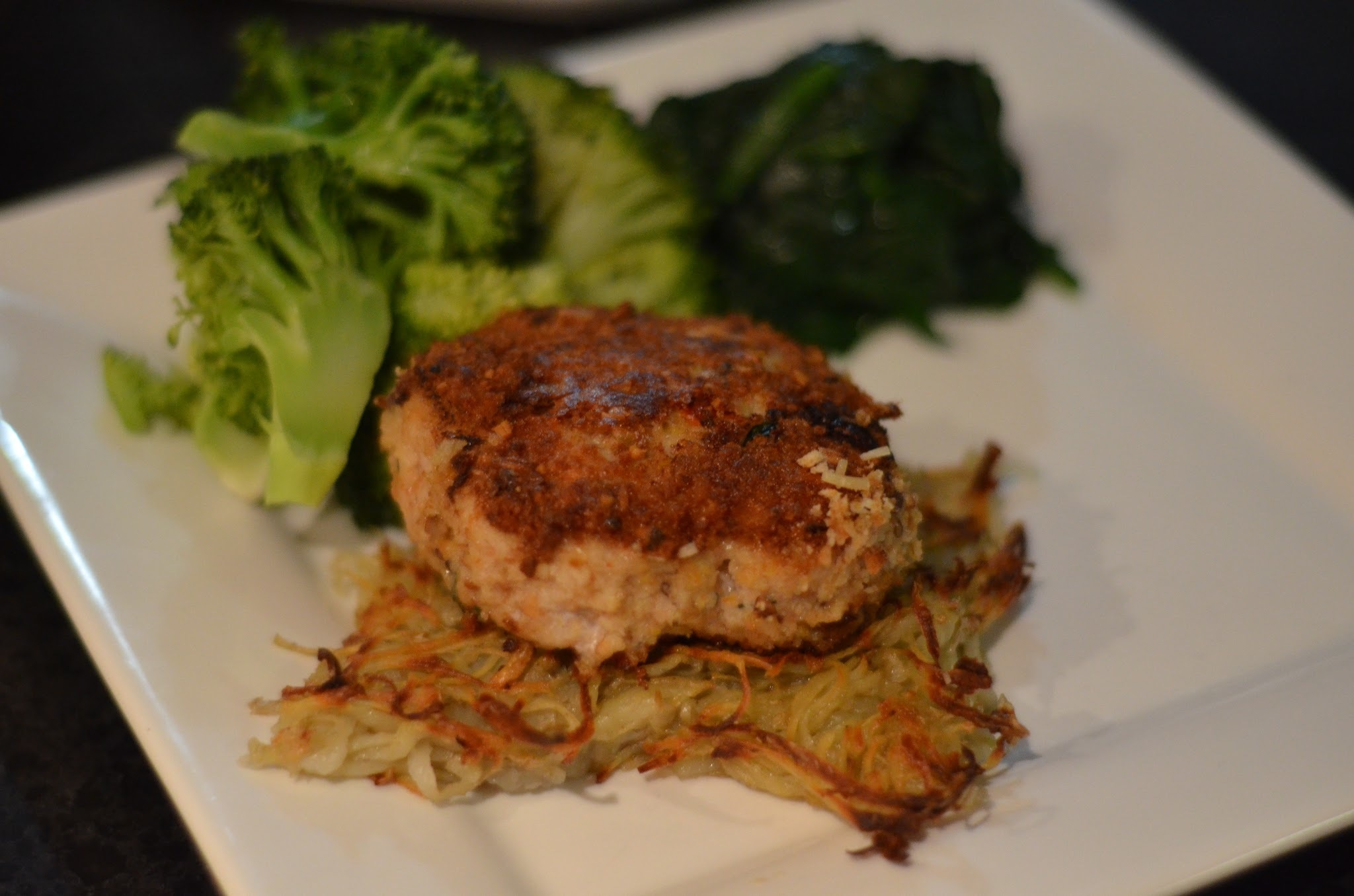 Chicken sundried tomato basil patties with potato rosti