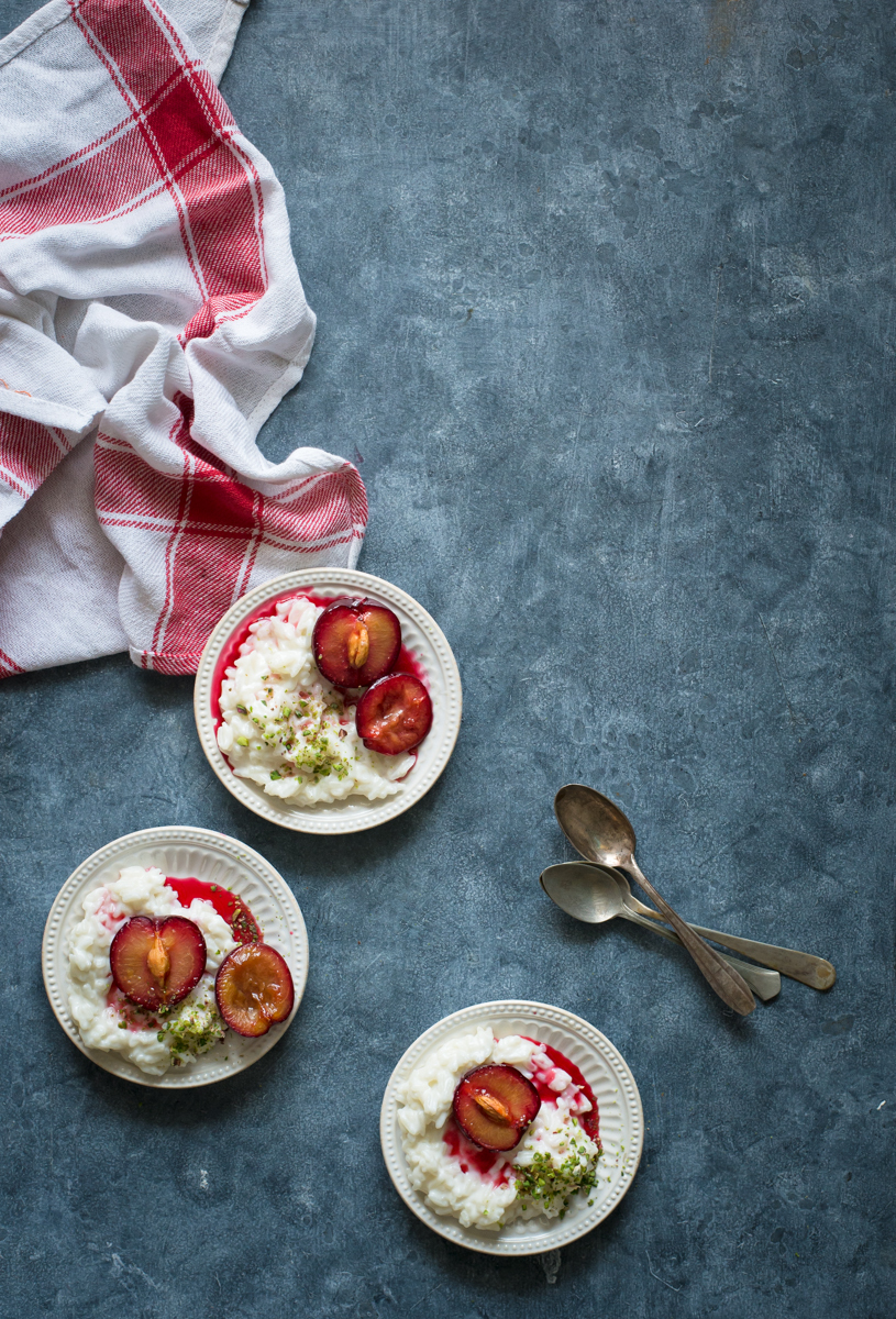 Coconut Rice Pudding With Roasted Plums