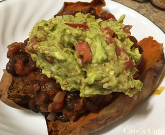 Recipe: Jacket Sweet Potatoes with Vegetarian Chilli and Guacamole