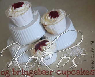 Coconut- and raspberry cupcakes