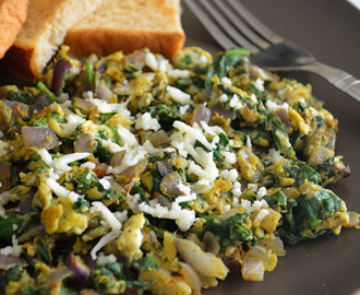 Scrambled Eggs with Spinach and Sweet Toast