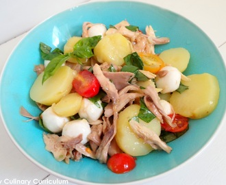 Salade de pommes de terre au poulet rôti et basilic (Potato salad with roasted chicken and basil=