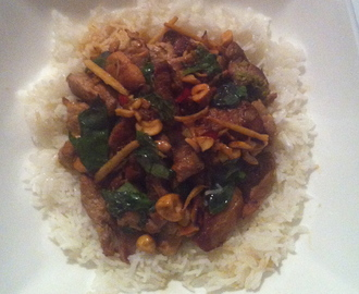 RECIPE: Pork stir fry with cashews, lime and mint