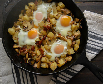 Maple Bacon, Mushroom and Potato Baked Egg Skillet