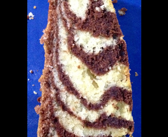 Tiger Striped Chocolate and Vanilla Marble Cake