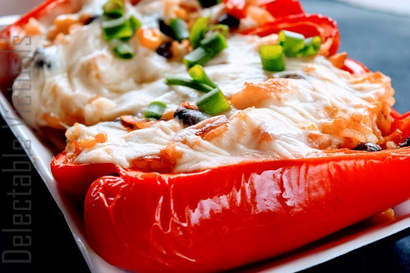 Southwest Rice Stuffed Red Peppers