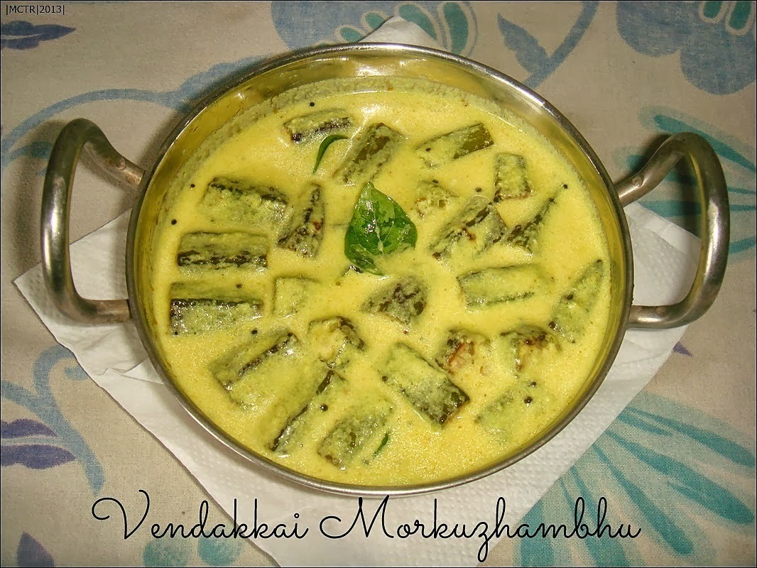 (Amma Cooks) Vendakkai Morkuzhambhu / Spiced Buttermilk gravy with Lady Fingers