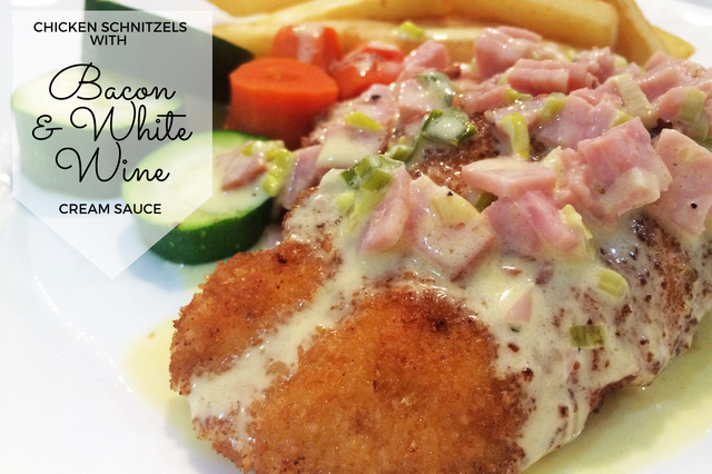 Chicken Schnitzels with Bacon & White Wine Cream Sauce