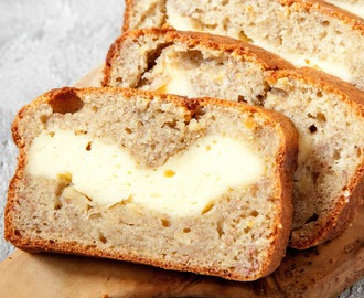 Cheesecake Stuffed Banana Bread