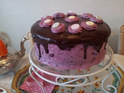 Chocolate cake with blueberry lemon cream cheese frosting