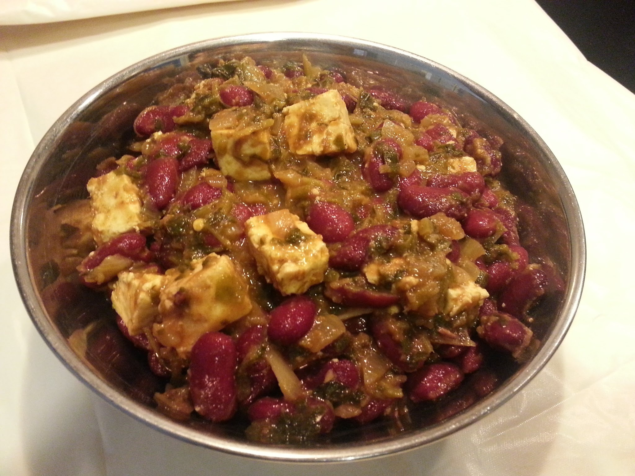 Methi Paneer Rajma curry / Fenugreek Cottage cheese and Dark Red Kidney beans curry