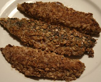 Pan-fried mackerel fillets in oatmeal