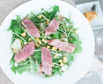 Quick-Fix Tuna and Mizuna Salad Using Japanese Sesame Dressing