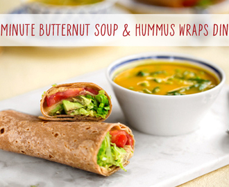Vegan Dinner Hack: Butternut Soup & Hummus Wraps