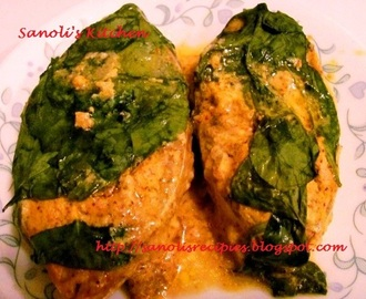 BAKED SPINACH HILSA / SHAD FISH