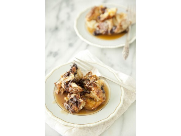 Chocolate Bread Pudding With Rum Toffee Sauce                Recipe by Paula Deen