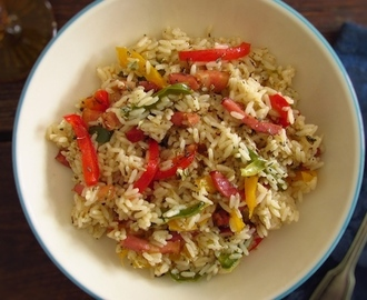 Rice with bacon and peppers