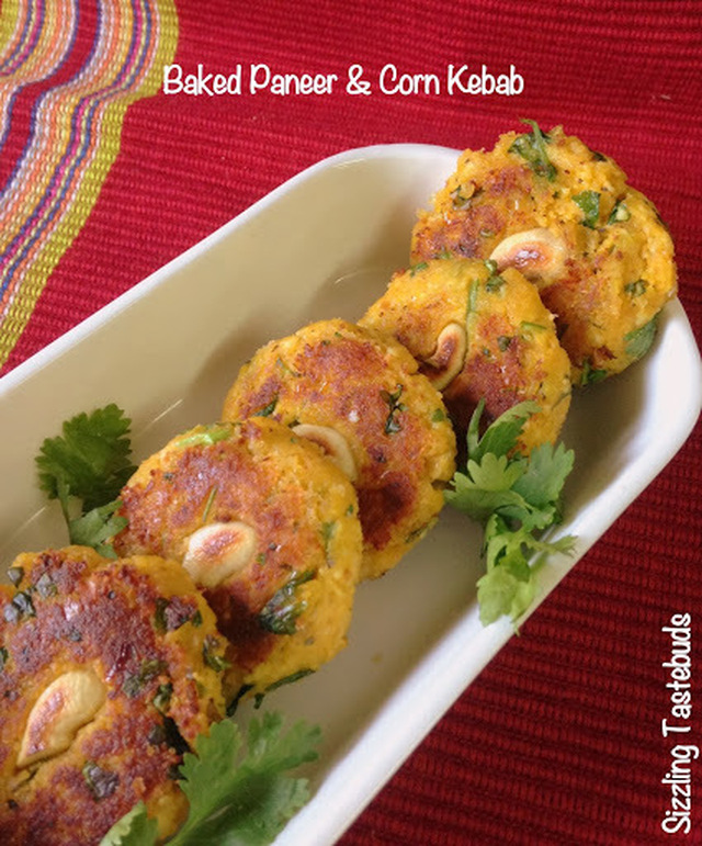 Baked Paneer Corn Kebab | Cottage cheese & Corn kebab | Party Snacks