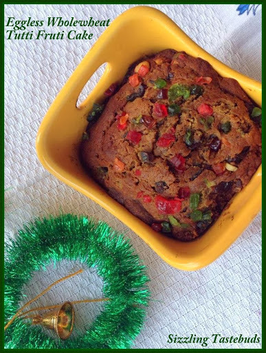 Eggless wholewheat Tutti Frutti Cake, a Christmas recipe a tad late :-)) | How to make an Eggless Plum Cake | Plum Cake recipe