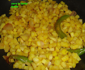 Valaithandu poriyal ( plantain stem stir fry )