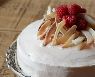 Coconut Cake with Raspberries and Rosewater Buttercream