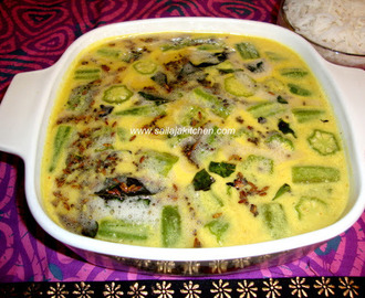 Mor Kuzhambu / Vendakkai More Kuzhlambu / Vendakkai Mor Kulambu /Okra In Buttermilk Gravy / South Indian Spiced Buttermilk Curry