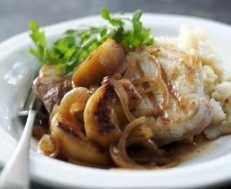 Pork chops with celeriac mash and apple and ale gravy