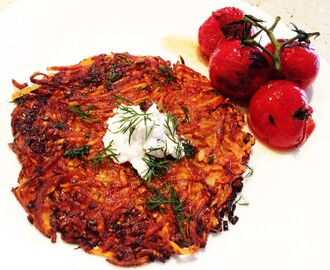 Sweet Potato Rosti with goats cheese and grilled tomatoes