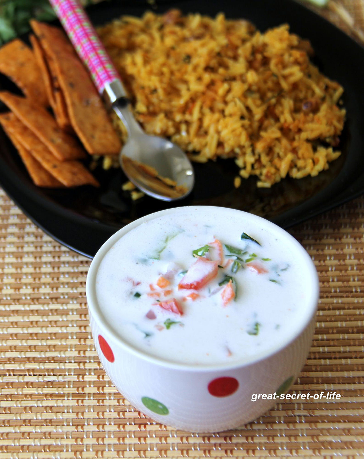 Masala Raita - Masala vegetable yogurt - Healthy side dish for one pot meals