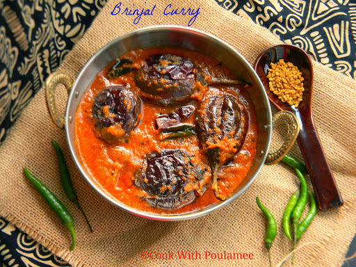 Andhra Style Brinjal Curry or Baby Eggplant Curry