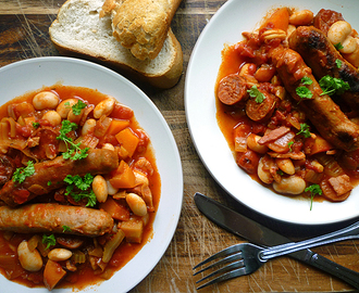 * Sausage, Bean and Vegetable Casserole