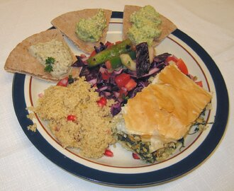 Greek Cooking Class: Spanakopita, Greek Salad, Baba Ganouj, Green Hummus, Couscous (and Chocolate Baklava)