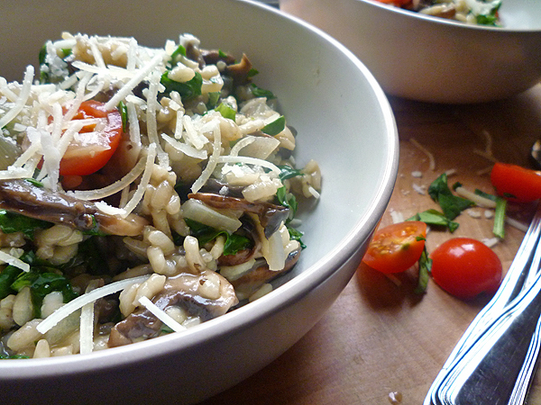 * Spinach and Chestnut Mushroom Risotto