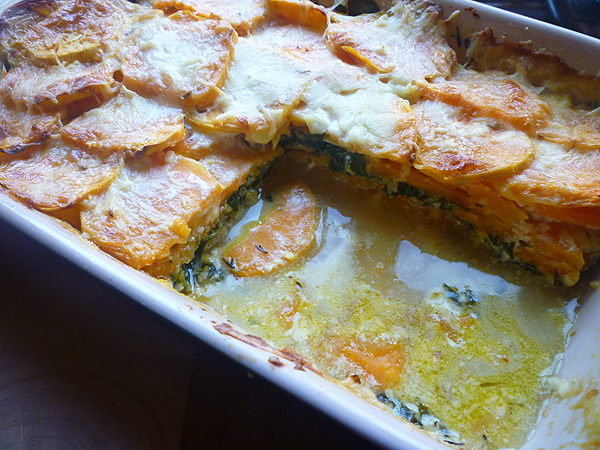 * Sweet Potato and Spinach Gratin