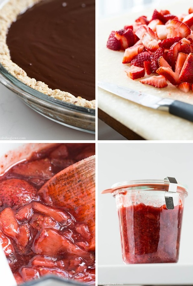Chilled Dark Chocolate Pie with Toasted Almond Crust and Strawberry Vanilla Compote
