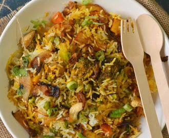 Hyderabadi Vegetable Dum Biryani - On stove top and oven, both versions explained