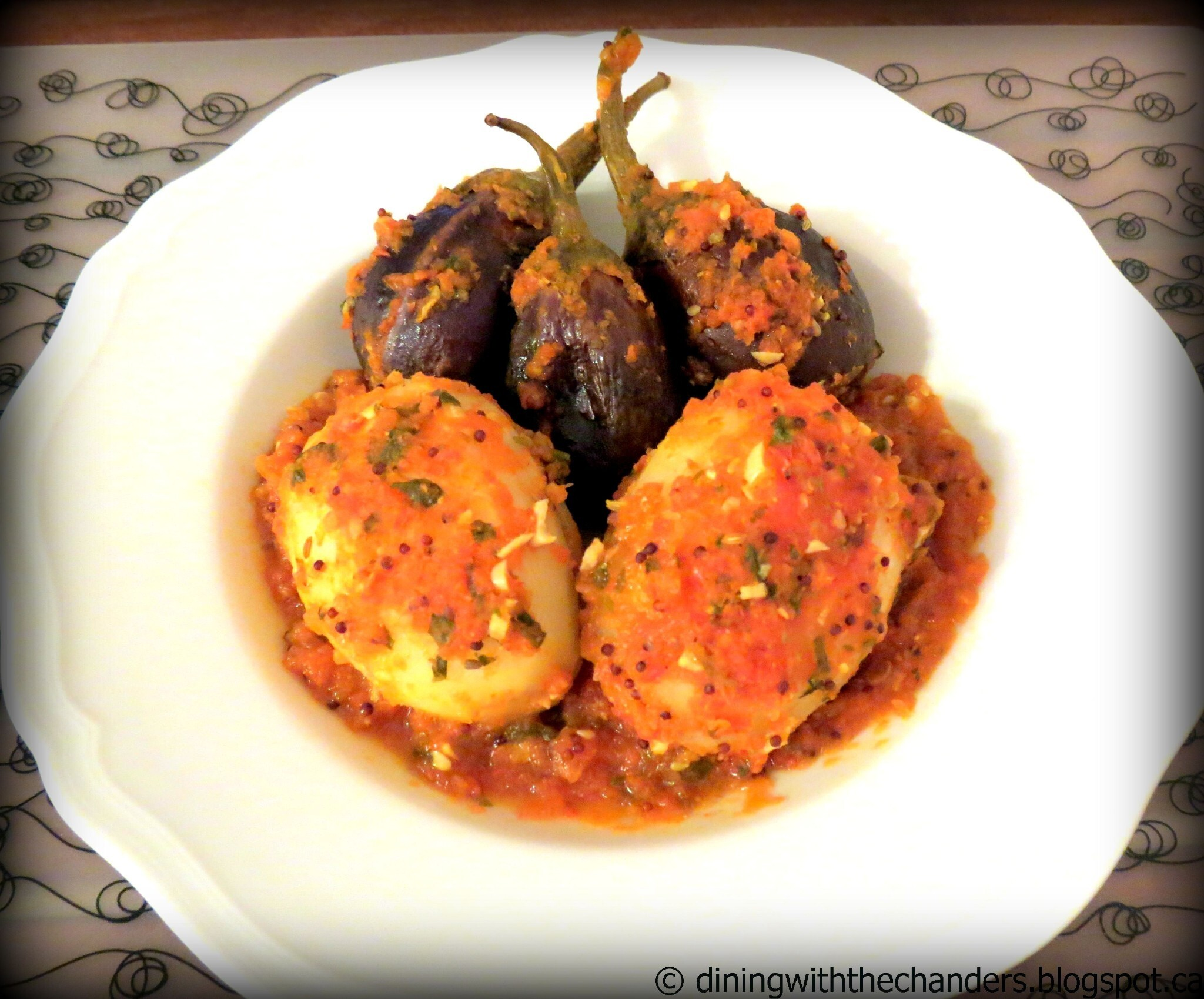 Spice Stuffed & Baked, Eggplant and Potatoes