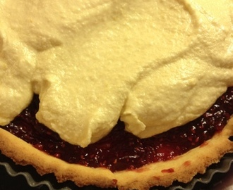Raspberry and lemon frangipani tart