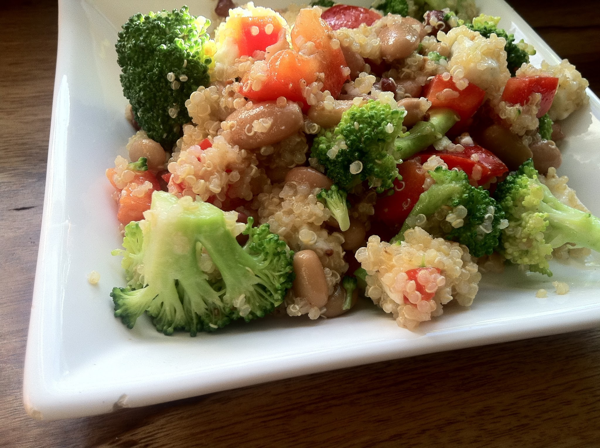 Quinoa salad with gorgonzola and burnt-garlic vinaigrette