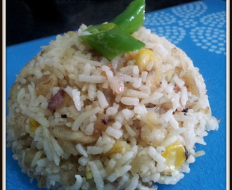 Plantain Corn Rice / Raw Banana Corn Rice / Lunch Box Recipes