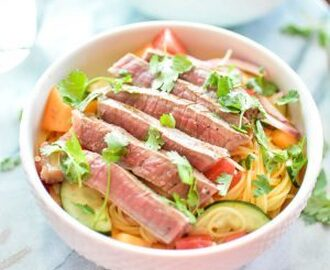 Grilled Steak Salad with Capellini and Melon