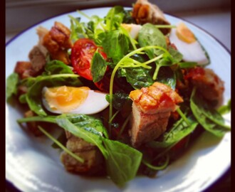 Salad of Crispy Pork Belly, Duck Egg and Roast Potato with Cider Dressing.