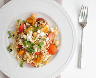 Orzo Salad with Chickpeas, Tomatoes, Herbs and Feta