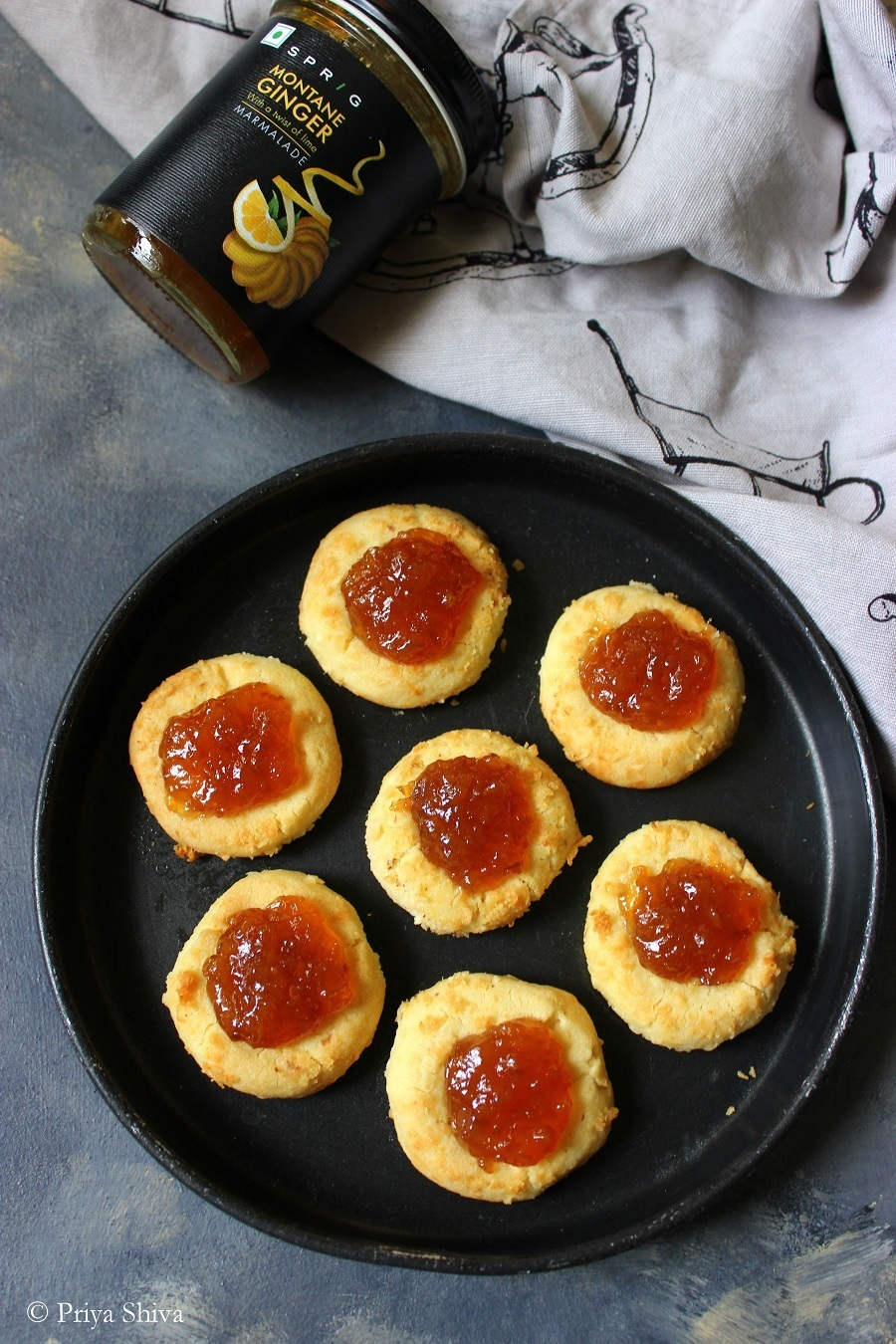 Ginger Marmalade Coconut Thumbprint Cookies
