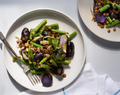 Purple Potato Salad with Green Beans and Red Wine Braised Lentils
